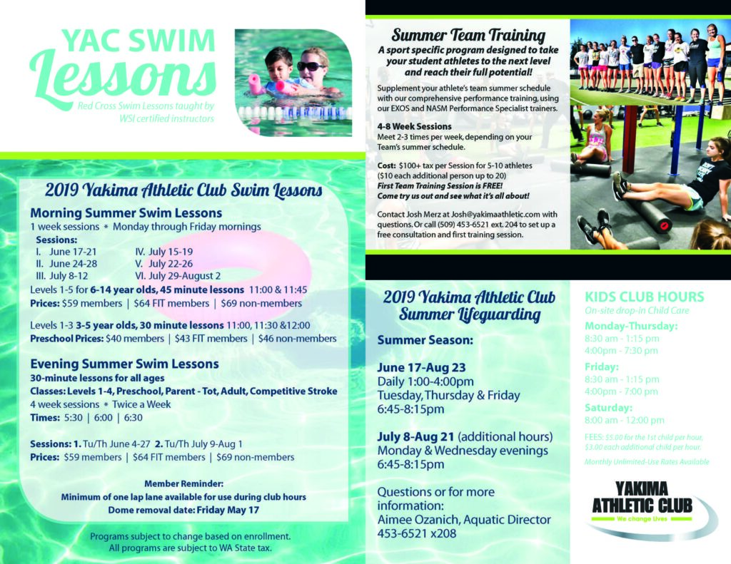 Yakima Athletic Club Swim Lessons